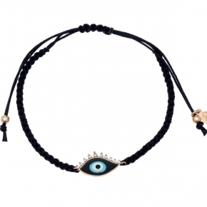 Bracelet silver 925 pink gold plated with cord and enamel evil eye - Wish Luck
