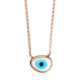 Necklace silver 925 pink gold plated, with enamel evil eye - Wish Luck