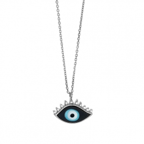 Necklace silver 925 rhodium plated with enamel evil eye (1.5cm x 1 cm) - Wish Luck