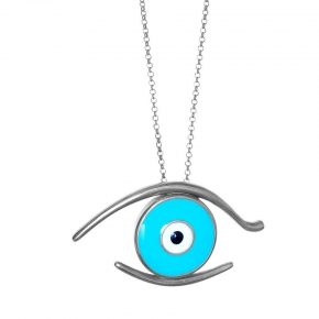 Necklace silver 925 rhodium plated & with enamel evil eye - Wish Luck