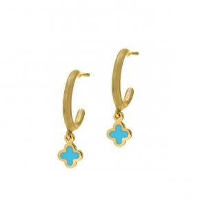 Earrings in silver 925 yellow gold plated with enamel - Simply Me