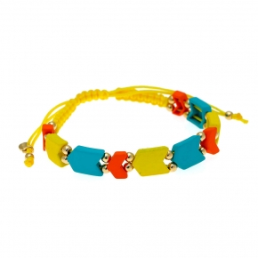 Bracelet silver 925 yellow gold plated with colored ceramic beads - Color Me