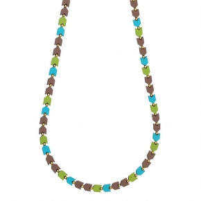 Necklace silver 925 yellow gold plated with colored ceramic beads - Color Me