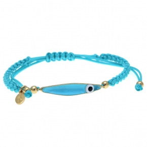 Bracelet silver 925 yellow gold plated with cord & enamel evil eye - Wish Luck