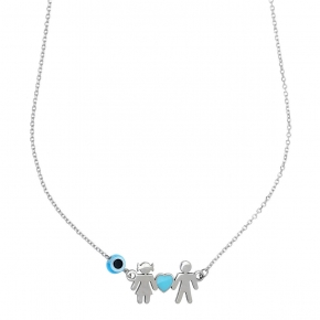 Necklace silver 925 rhodium plated enamel and evil eye - Wish Luck