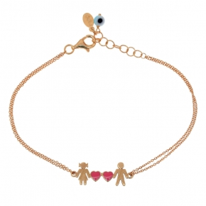 Bracelet silver 925 pink gold plated with enamel and evil eye - Wish Luck
