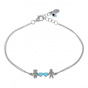 Bracelet silver 925 rhodium plated with enamel and evil eye - Wish Luck