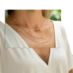 Necklace silver 925 yellow gold plated with white zirconia - Wish Luck