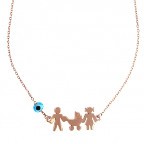 Necklace silver 925 rose gold plated with evil eye - Wish Luck