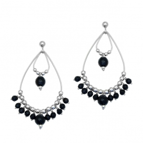 Earings silver 925 rhodium plated with onyx - Color Me