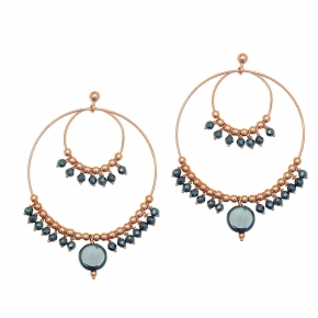 Earings silver 925 rose gold plated with hematite - Color Me