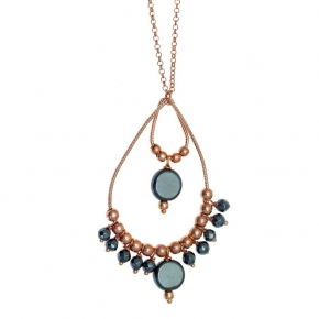 Necklase silver 925 rose gold plated with hematite - Color Me