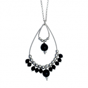 Necklase silver 925 rhodium plated with onyx - Color Me