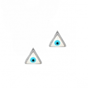 Earrings silver 925 rhodium plated with enamel evil eye - Wish Luck