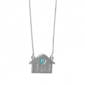 Necklace silver 925 rhodium plated with enamel evil eye - Wish Luck