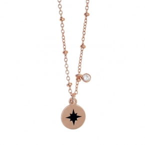 Necklace silver 925 pink gold plated with enamel and white zirconia - Color Me