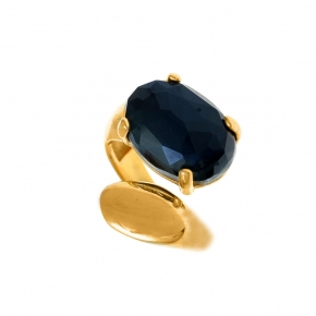 Ring silver 925 yellow gold plated with doublet gem stones - Color Me