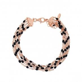 Bracelet silver 925 rose gold plated with enamel - Color Me