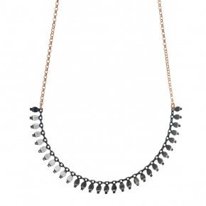 Necklace in silver 925 rose gold plated with black rhodium plated - Simply Me