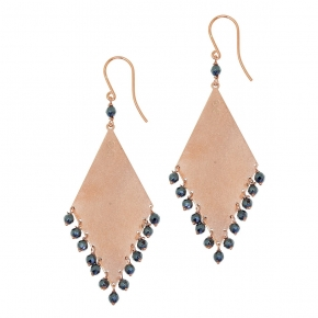 Earrings silver 925 rose gold plated with hematite - Color Me