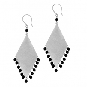 Earrings silver 925 rhodium plated with onyx - Color Me