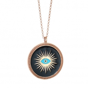 Necklace silver 925 rose gold plated & with enamel evil eye - Wish Luck