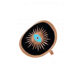 Ring silver 925 rose gold plated & with enamel evil eye - Wish Luck