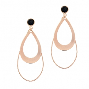 Earrings silver 925 pink gold plated with onyx - Color Me