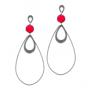 Earrings silver 925 black rhodium plated with rubi - Color Me