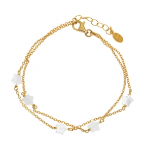Bracelet in silver 925 yellow gold plated with fildisi - Simply Me
