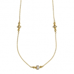 Necklace silver 925 yellow gold plated and zirconia - WANNA GLOW