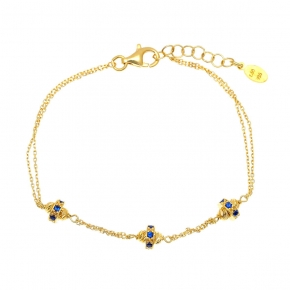 Bracelet silver 925 yellow gold plated and zirconia - WANNA GLOW