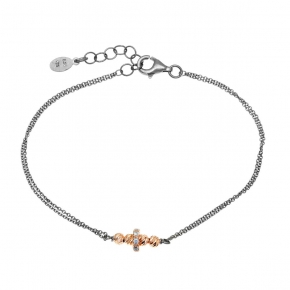 Bracelet silver 925 rose gold plated with black rhodium plated and white zirconia - WANNA GLOW
