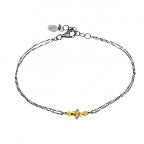 Bracelet silver 925 yellow gold plated with black rhodium plated and white zirconia - WANNA GLOW