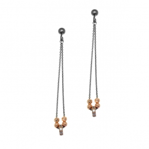 Earings silver 925 rose gold plated with black rhodium plated and white zirconia - WANNA GLOW