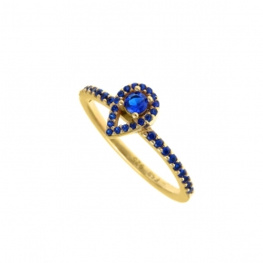 Ring silver 925 yellow gold plated with zirconia - Simply Me