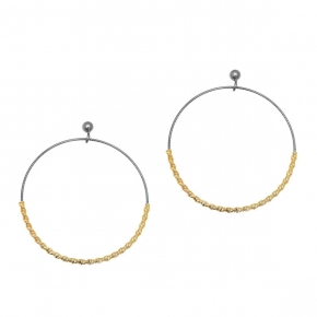 Earings silver 925 yellow gold plated with black rhodium plated - WANNA GLOW