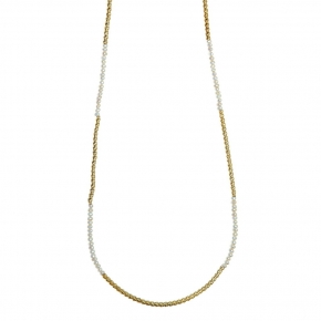 Necklace silver 925 yellow gold plated with fresh water pearl - WANNA GLOW