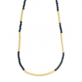 Necklace silver 925 yellow gold plated onyx - WANNA GLOW