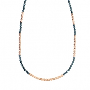 Necklace silver 925 rose gold plated hematite - WANNA GLOW