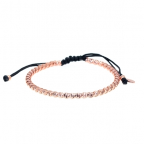 Bracelet silver 925 rose gold plated with cord - WANNA GLOW