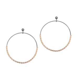 Earings silver 925 rose gold plated with black rhodium plated - WANNA GLOW