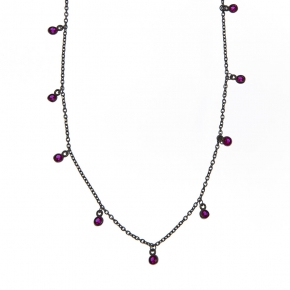 Necklace silver 925 black rhodium plated with zirconia - Simply Me