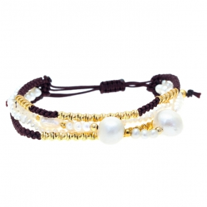 Bracelet silver 925 yellow gold plated with cord and pearl - WANNA GLOW