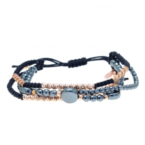 Bracelet silver 925 rose plated with cord and hematite - WANNA GLOW