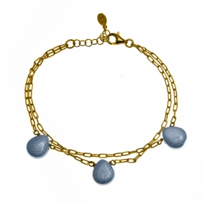 Bracelet silver 925 yellow gold plated with enamel stones - Color Me