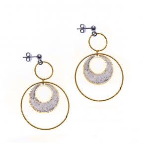 Earings silver 925 rhodium plated with yellow gold plated - Funky Metal