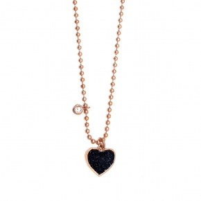 Necklace silver 925 pink gold plated with zirconia and glitter - WANNA GLOW