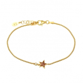 Bracelet silver 925 yellow gold plated with zirconia and glitter - WANNA GLOW