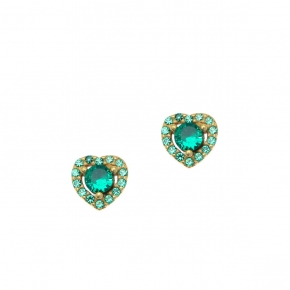 Earings silver 925 yellow gold plated with zirconia - Color Me